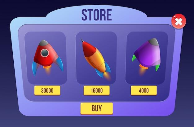 Космическая ракета для научно-фантастических игр Premium векторы