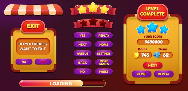 レベル完了および星とボタンを備えた終了画面ポップアップ画面 Premiumベクター
