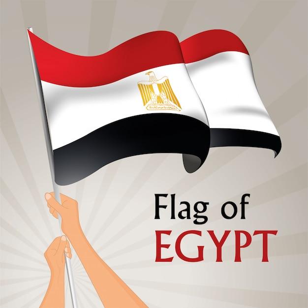 Развевающийся флаг египта. векторная иллюстрация Premium векторы
