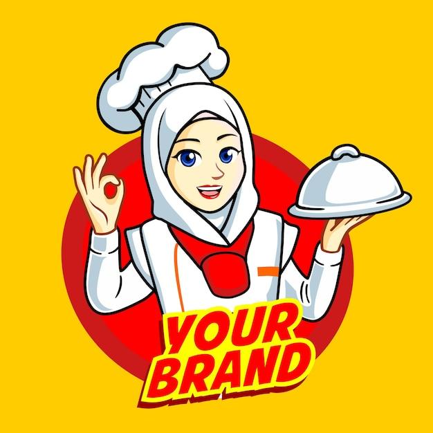 Женщина мусульманский шеф-повар Premium векторы