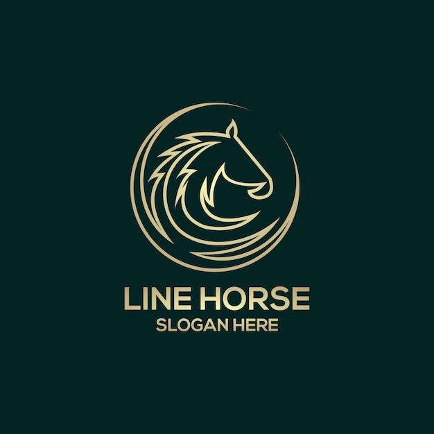 Линия лошадь логотип Premium векторы