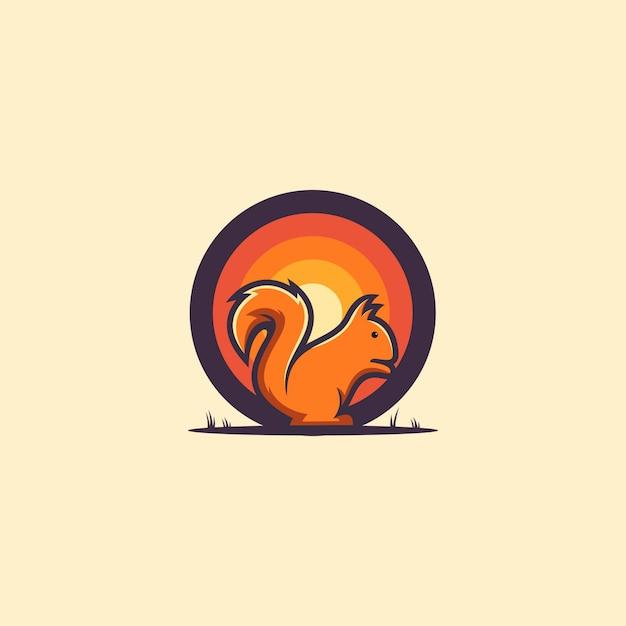 素晴らしいリスのロゴのアイデア Premiumベクター