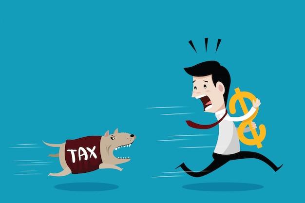 Бизнесмен убегает собака в рубашке налога Premium векторы