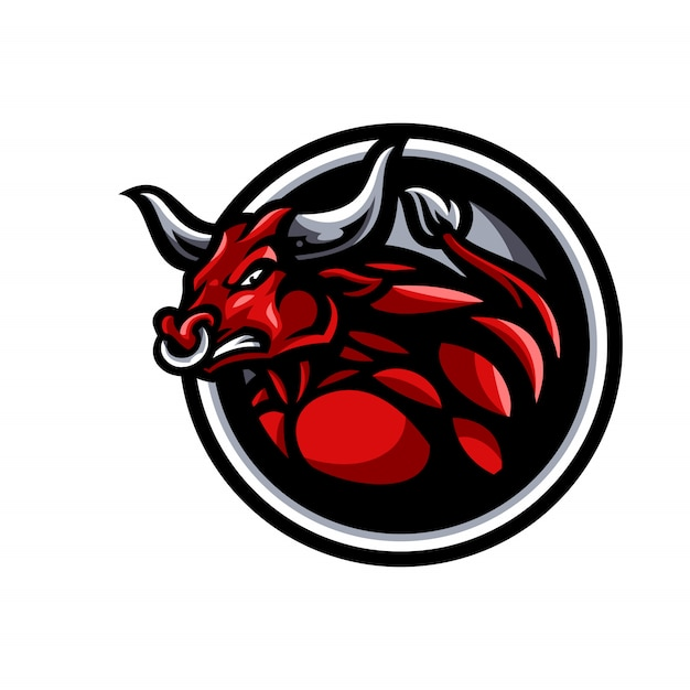 Логотип талисмана быка Premium векторы