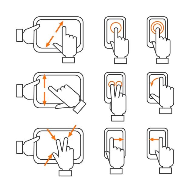 スマートフォンのジェスチャー概要アイコンセット 無料ベクター