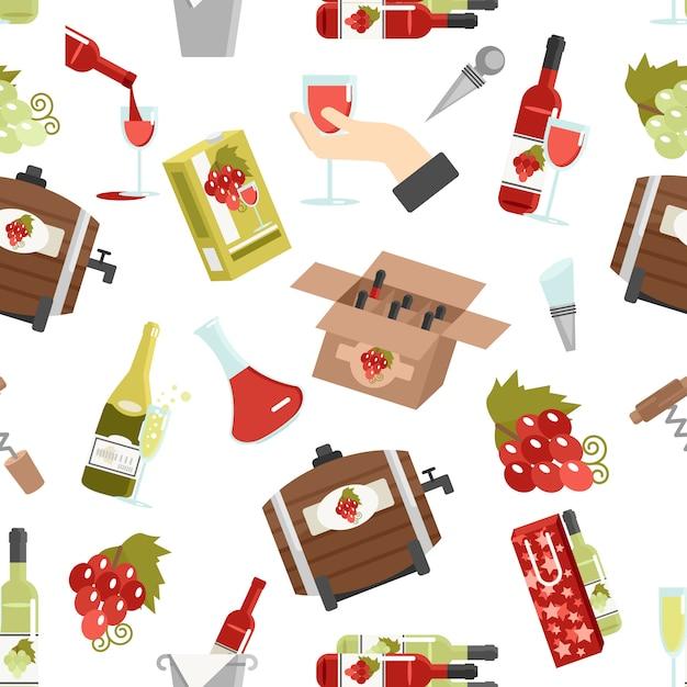 ワインカラーのシームレスパターン 無料ベクター