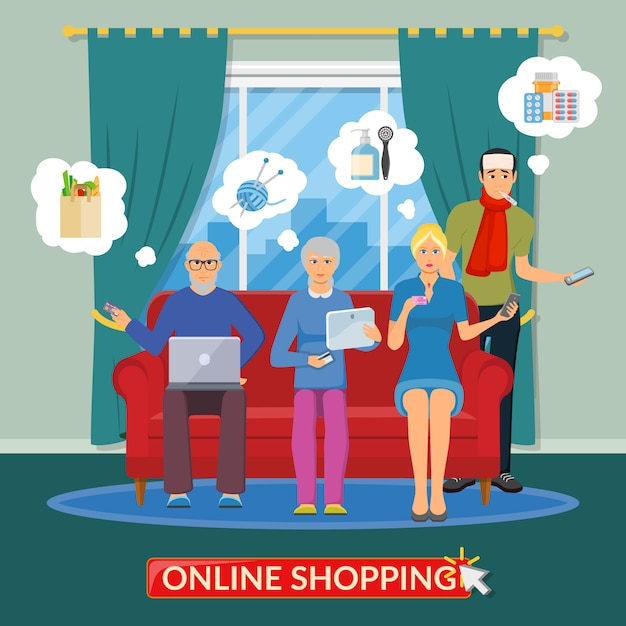 オンラインショッピングフラットコンポジション 無料ベクター