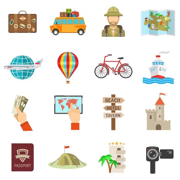 Плоские иконки для путешествий Бесплатные векторы