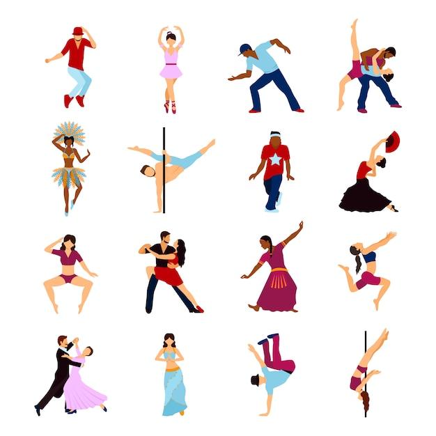 Люди танцуют набор Бесплатные векторы