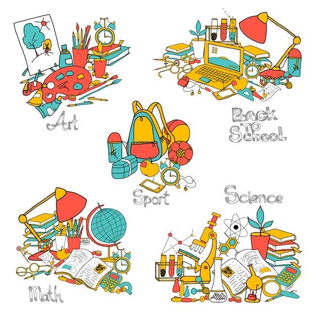 学校に戻る装飾セット 無料ベクター
