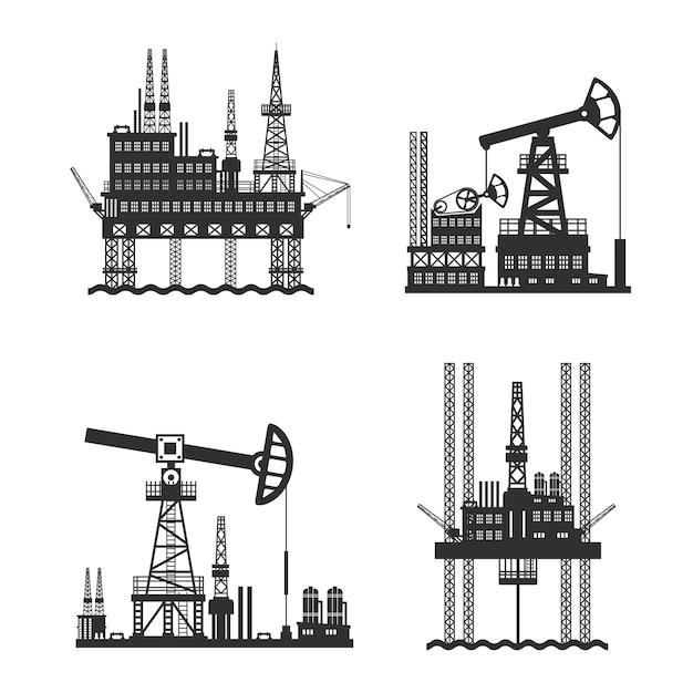 白黒石油石油プラットフォーム 無料ベクター