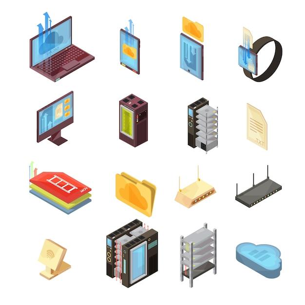 データクラウド等尺性ファイル、転送情報、コンピューターおよびモバイルデバイス、サーバー、ルーター分離ベクトルイラストセット 無料ベクター