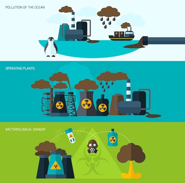 Набор баннеров загрязнения Бесплатные векторы