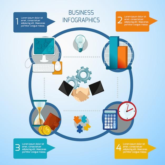 Набор бизнес инфографики Бесплатные векторы