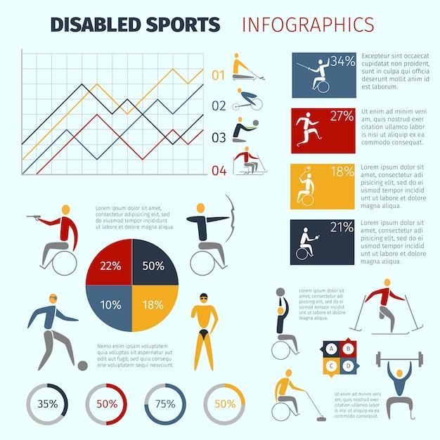 身体障害者スポーツのインフォグラフィック Premiumベクター