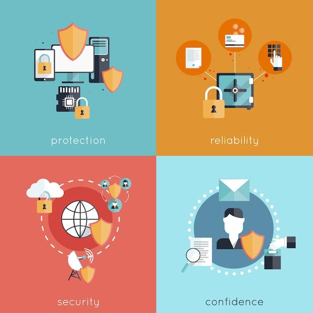 Набор концепции дизайна информационной безопасности Бесплатные векторы