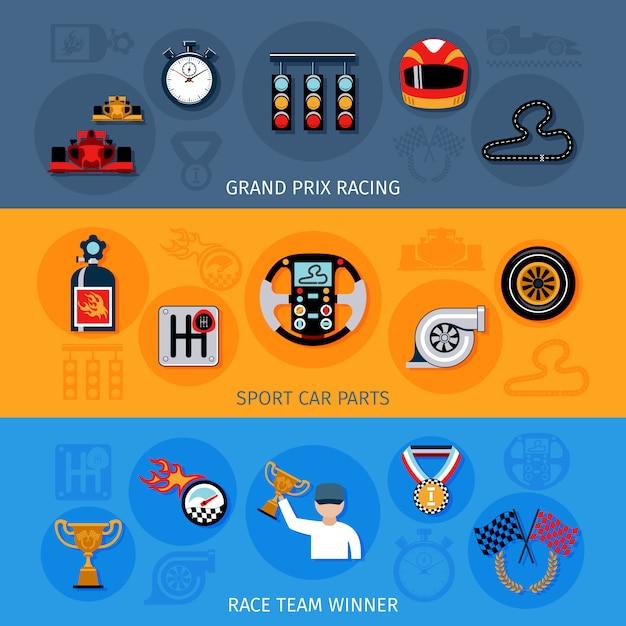 レーシングバナーセット Premiumベクター