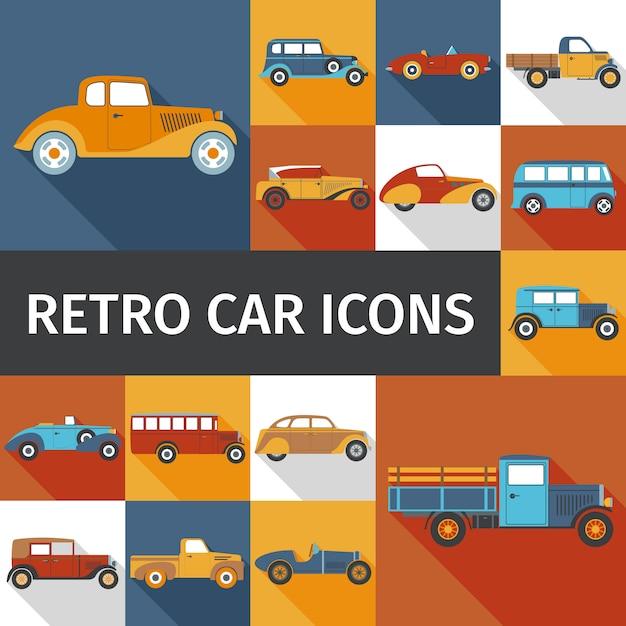 Набор старых автомобилей Бесплатные векторы