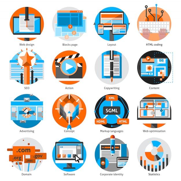 創造的なオンライン作業ラウンドのアイコンを設定 Premiumベクター