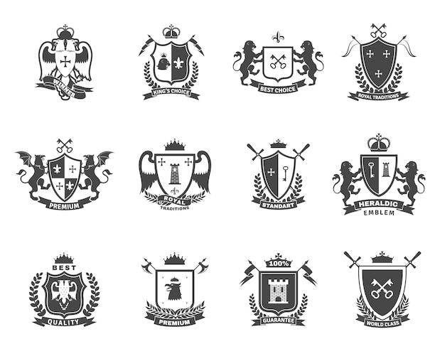 Набор геральдических премиальных эмблем Premium векторы