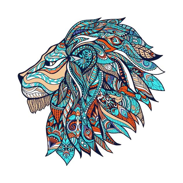 Лев цветные иллюстрации Premium векторы