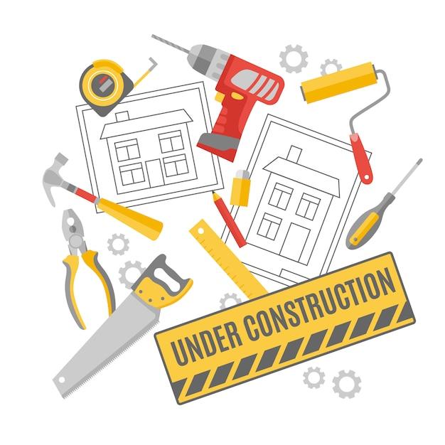 建設労働者ピクトグラム構成バナー 無料ベクター