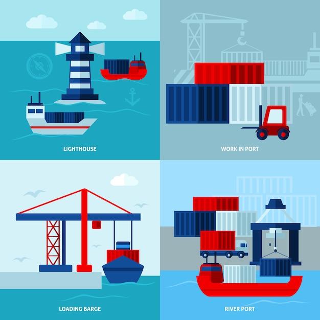 Концепция морского порта с плоским цветом Бесплатные векторы