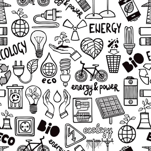 Бесшовные шаблон с символами энергии Бесплатные векторы