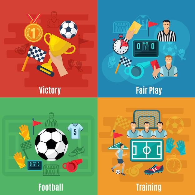 サッカーデザインコンセプトセット 無料ベクター