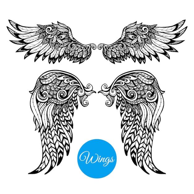 Набор декоративных крыльев Бесплатные векторы