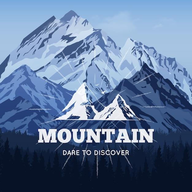 冬の背景の山々 無料ベクター
