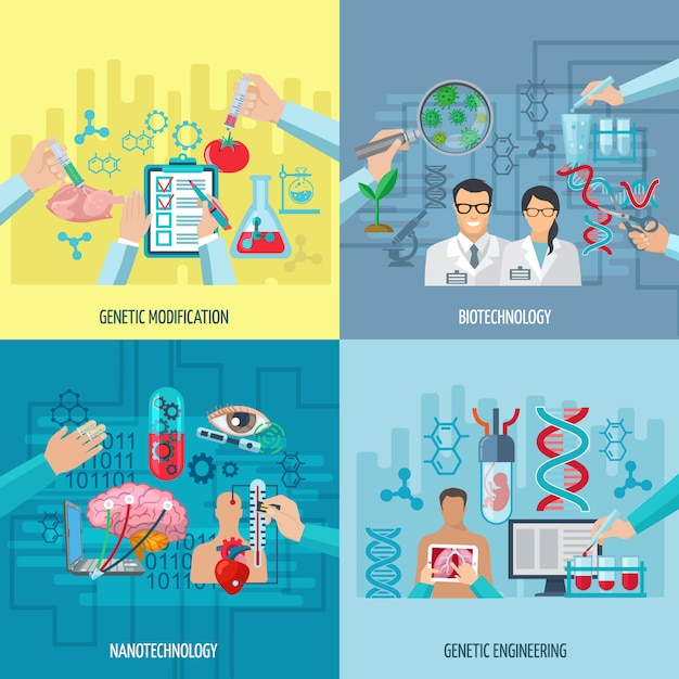 遺伝子工学ナノテクノロジーと遺伝子組み換え正方形要素フラットベクトル図のバイオテクノロジーアイコンコンセプト構成 無料ベクター