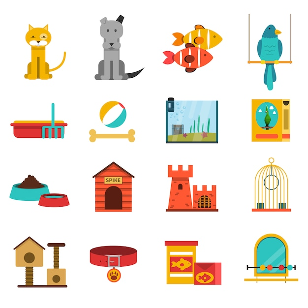 Набор иконок домашних животных Бесплатные векторы