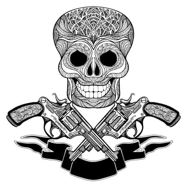 リボンと頭蓋骨の飾りと交差した銃 無料ベクター