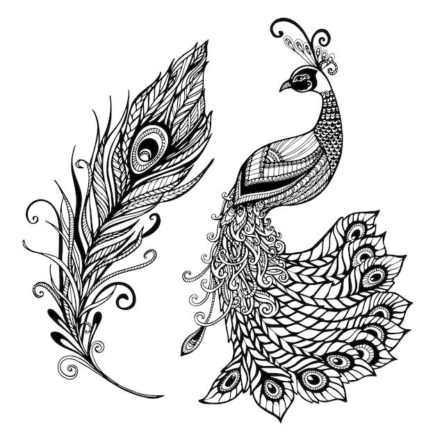 孔雀の羽のデザインブラック落書きプリント 無料ベクター