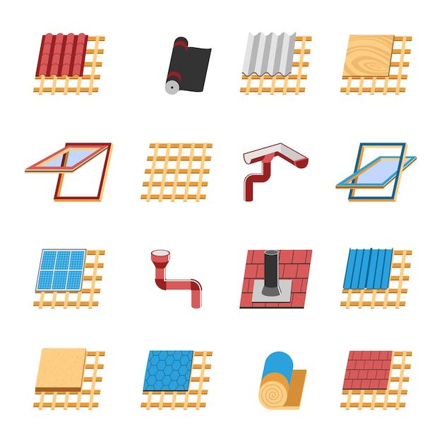 Крыша строительные элементы набор плоских иконок Бесплатные векторы