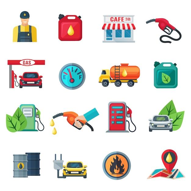キャニスタータンカーガンカフェ従業員列ポンプ分離ベクトル図のガソリンスタンドフラットカラーアイコンを設定 Premiumベクター