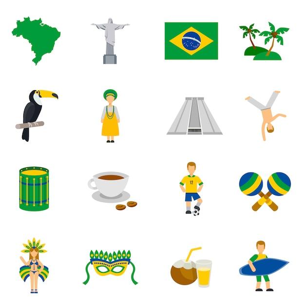 ブラジル文化のシンボルフラットアイコンセット 無料ベクター