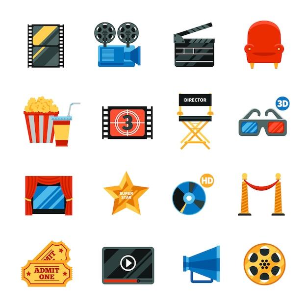 Набор плоских декоративных иконок кино Бесплатные векторы