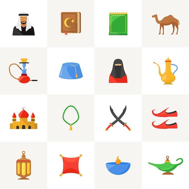 アラビア文化のアイコンを設定 無料ベクター