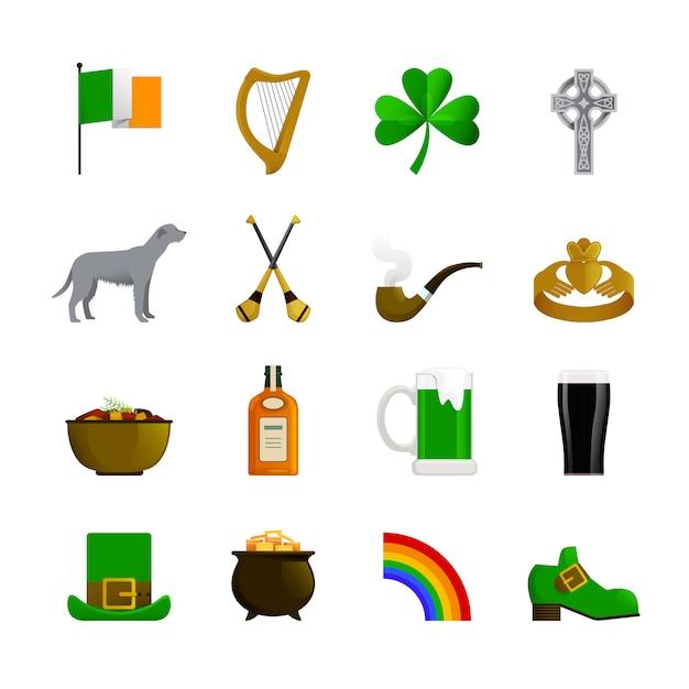 Ирландия плоские цветные декоративные иконки с зеленым лепреконом и шляпкой радуги с золотым ирландским терьером и бутылкой виски Бесплатные векторы