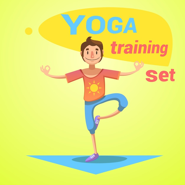 健康と幸福のシンボル漫画ベクトル図入りヨガトレーニング 無料ベクター