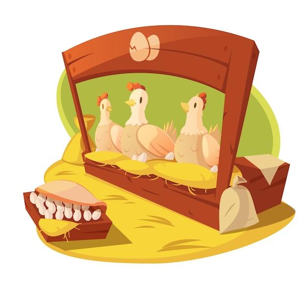 鶏と卵干し草とベクトル図を供給するための穀物の袋を持つ農場で 無料ベクター