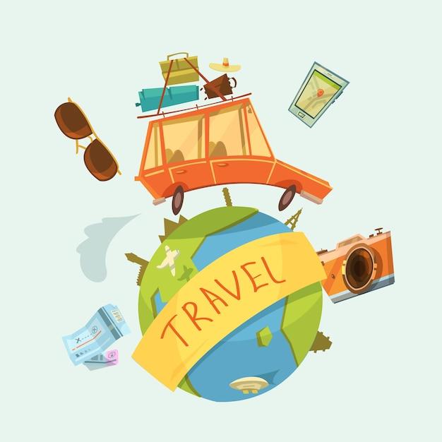 世界一周旅行のコンセプト Premiumベクター