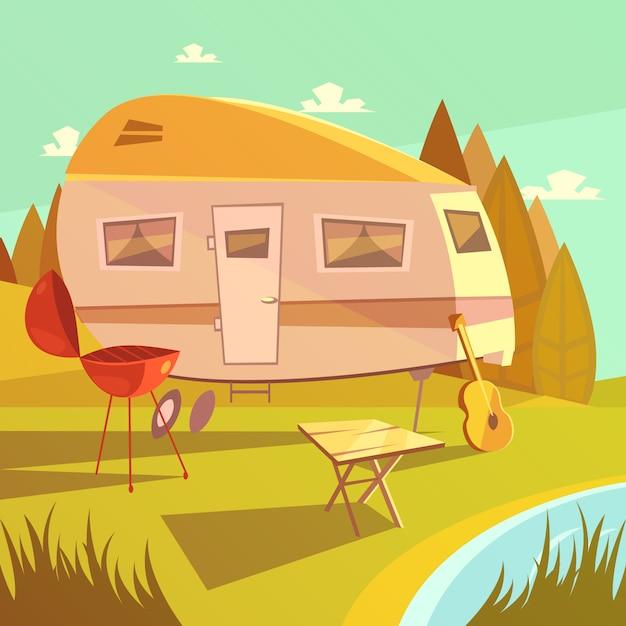 バーベキューテーブルとギターのベクトル図とトレーラーとキャンプの漫画の背景 Premiumベクター