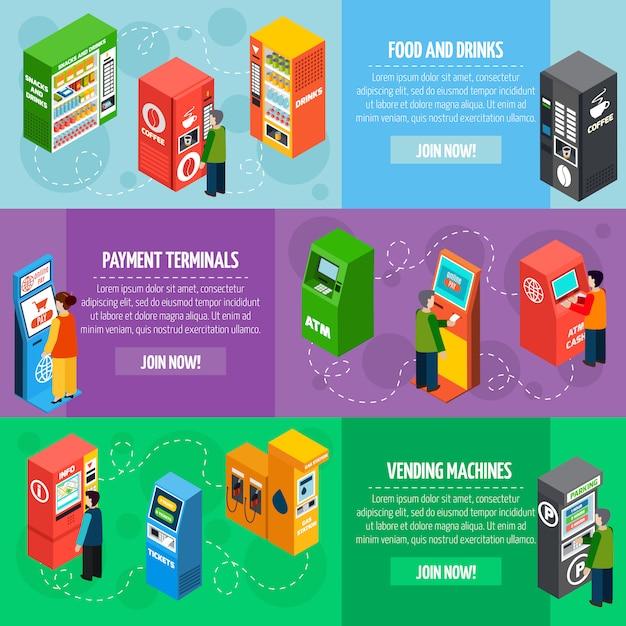 Торговые автоматы изометрические баннеры Бесплатные векторы