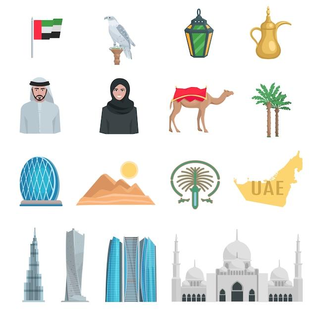 Объединенные арабские эмираты плоские иконки с символами государственных и культурных объектов, изолированных векторная иллюстрация Бесплатные векторы