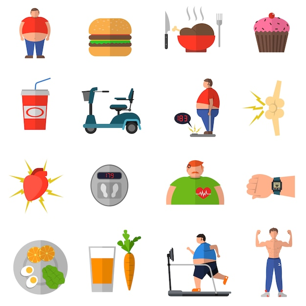 Переход от ожирения к здоровому образу жизни Premium векторы