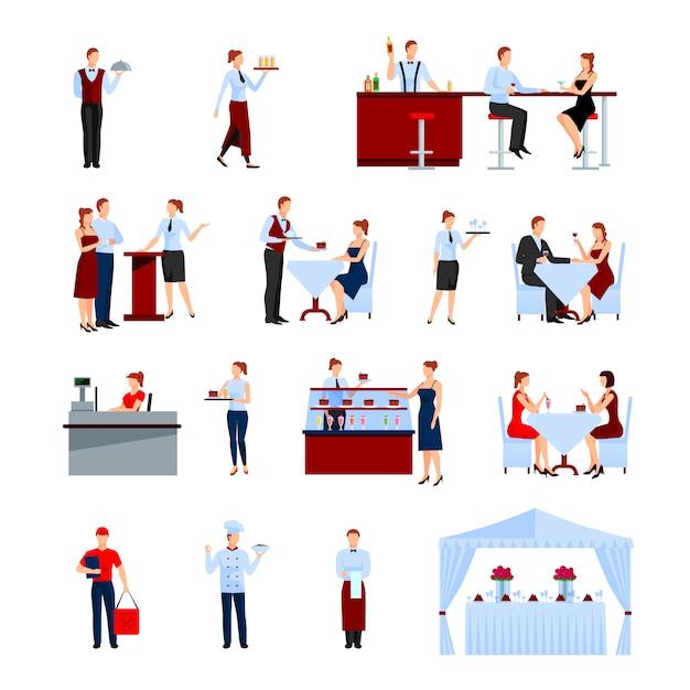 Питание в ресторане набор символов с таблицами и официантами плоской изолированных векторная иллюстрация Бесплатные векторы