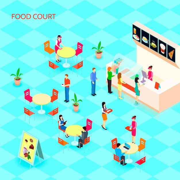 Цветные фаст-фуд изометрической набор иконок с фуд-корт в торговом центре с людьми, которые едят векторные иллюстрации Бесплатные векторы
